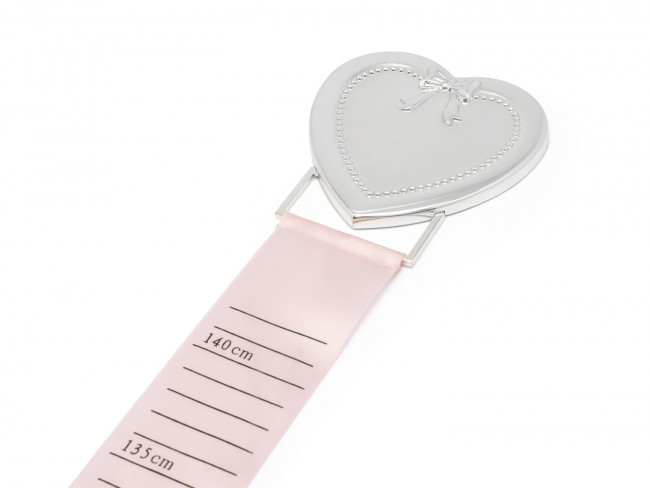 Growth chart ruler pink/blue with heart silver colour