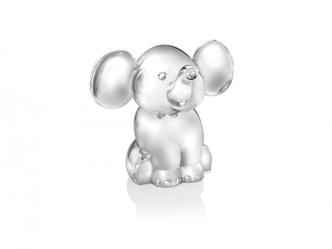 Money box Sitting Elephant silver colour