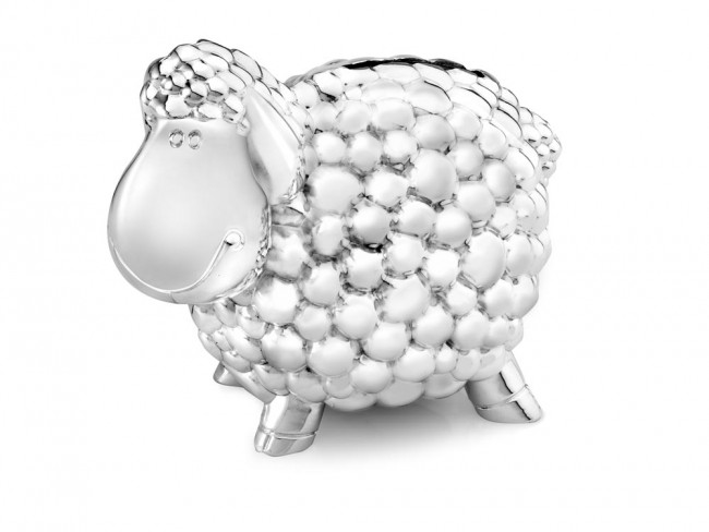 Money box Sheep 11.5cm silver colour