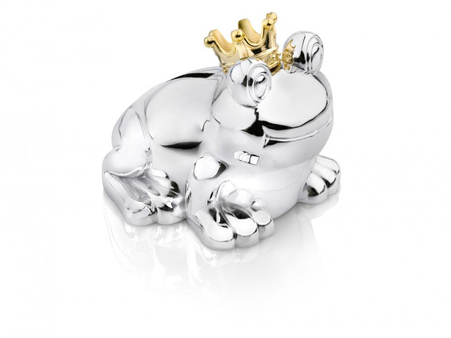 Money box Frog 10x9x9cm silver colour