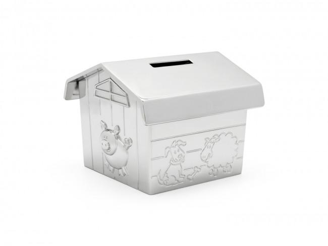 Money box Farmer's barn silver colour