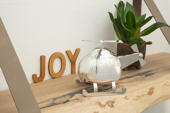 Money box Helicopter silver colour
