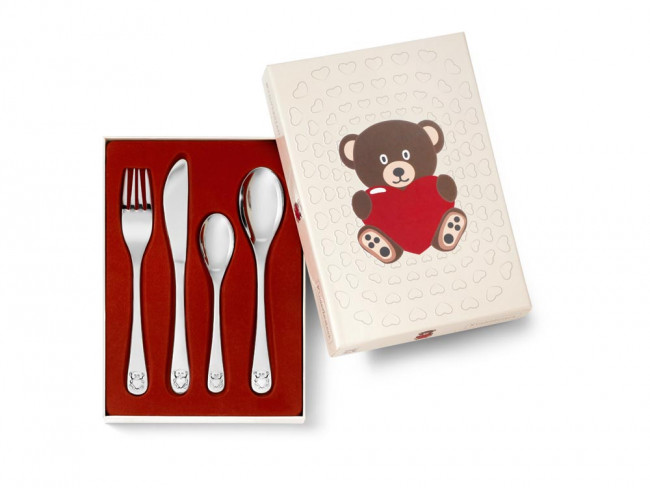 Children's cutlery 4-pcs Bear with Heart s/s