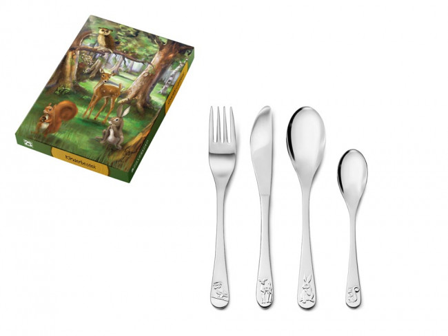 Children's cutlery 4-pcs Forest animals s/s
