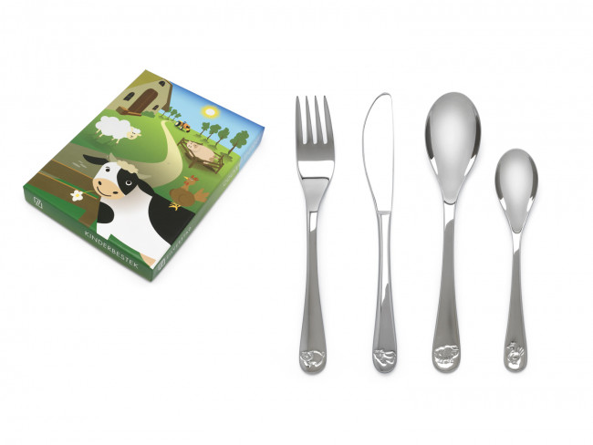 Children's cutlery 4-pcs Farm animals s/s