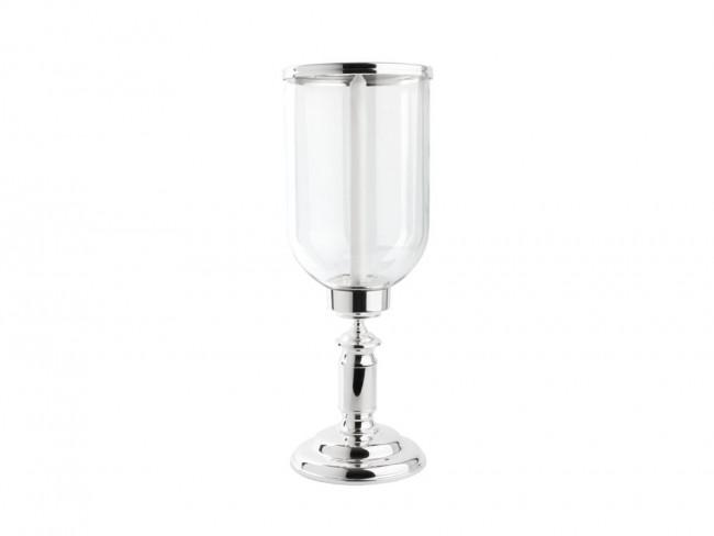 Hurricane lamp Icona, glass / sp./lacq. base, Ø19x51,5cm