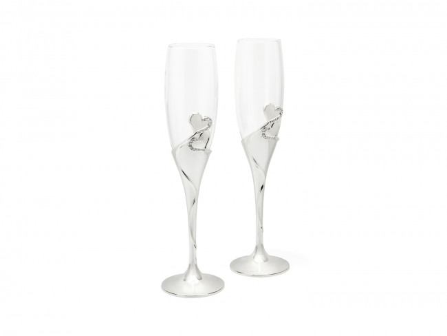Champagne glasses Heart s/2 sp/l