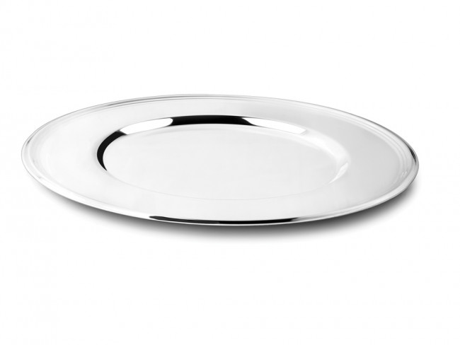 Charger plate Lines 33cm silver colour