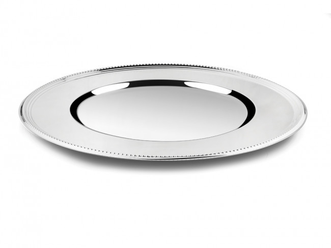 Charger plate Pearl 33cm silver colour