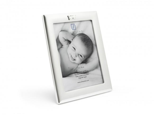 Photo Frame 13x18 cm  w/Crown Icon Silver Pl w/Lacq.