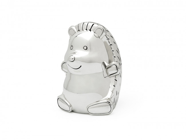 Hedgehog money box silver colour