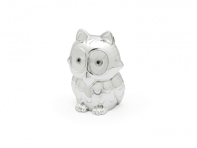Money box Owl silver colour