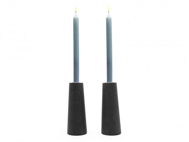 Oblique candle holder set of 2 sandstone resin