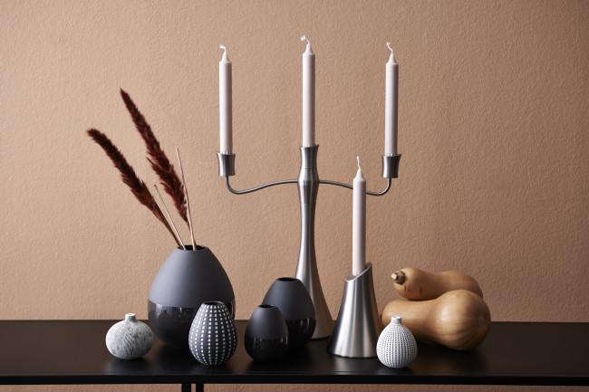 Vase Como black (matt/shiny), small, stoneware