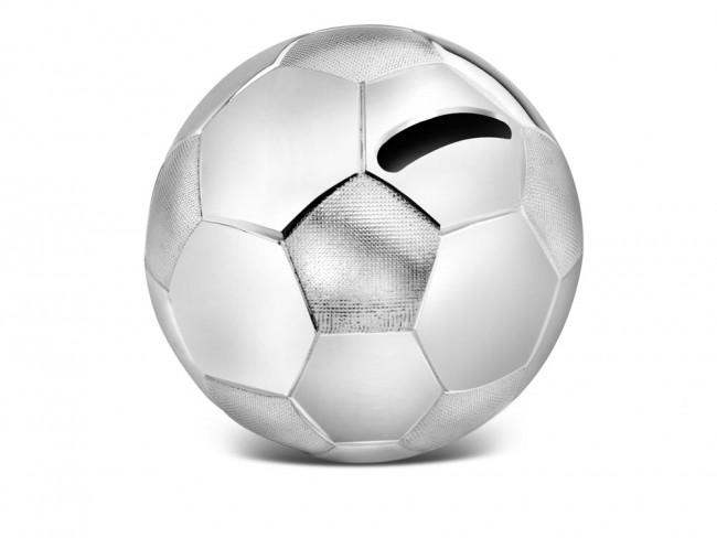 Money box Football 8.5x8.5x8 silver colour