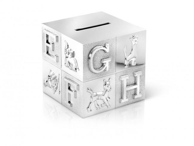 Money Box Cube, big, ABC 7,5x7,5x7,5cm sp./lacq.