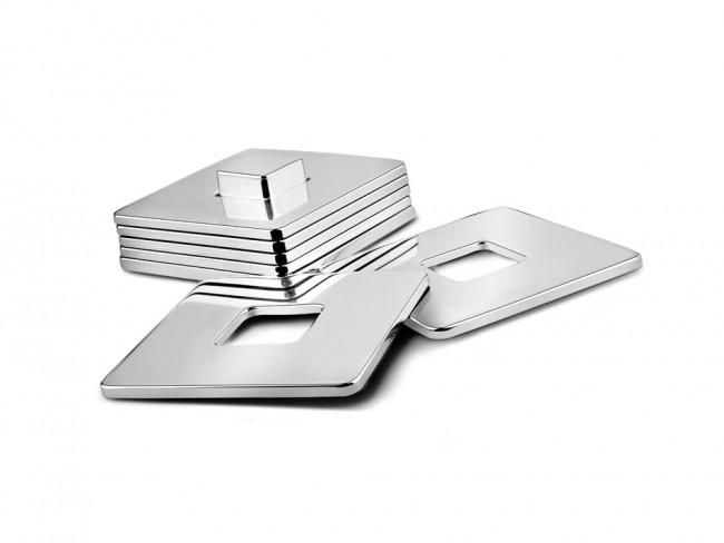 Coaster Square set of 6 (with holder) nickel colour