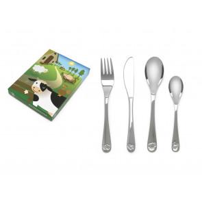 Children's cutlery 4-pcs Farm animals s/s