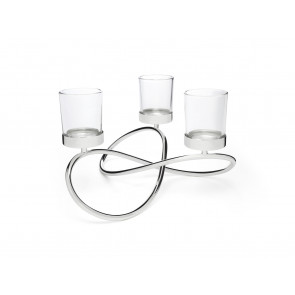 Tealight holder Infinity, 3 branches sp./lacq.