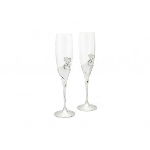 Champagne flute silver plated lacquer, 2pcs
