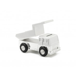 Money box Dumper truck  silver plated lacquered