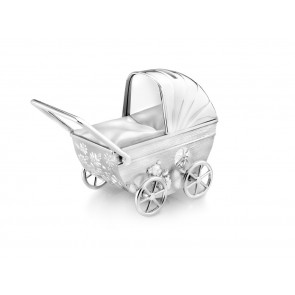 Money Box Buggy with engraving shield 11x5,5x10cm sp./lacq.