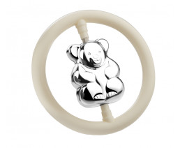 Rattle Bear on ring, silver plated (B90 heavy silver plated)