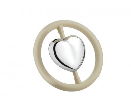 Rattle Heart on ring, silver plated (B90 heavy silver plated)