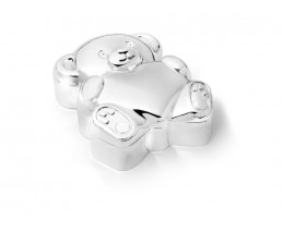 First tooth/haircurl box Bear with heart, silver colour