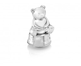 Music box/money box Bear with heart, silver plated lacquered