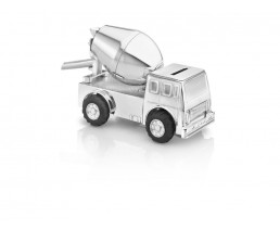 Money box Cement Truck, silver plated lacquered