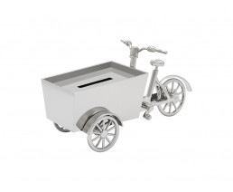 Money box Cargo bike, silver colour