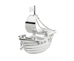 Money Box Pirate Ship, silver plated lacquered