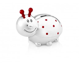 Money Box Ladybird, silver plated lacquered