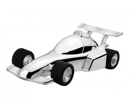 Money Box Racing Car, silver plated lacquered