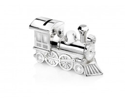 Money Box Locomotive, silver plated lacquered
