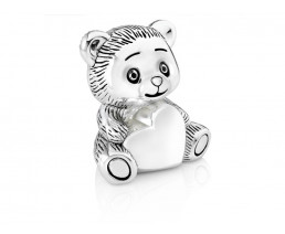 Money Box Bear with heart, silver plated lacquered