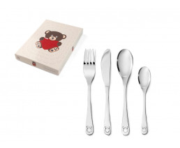 Children's cutlery Bear with heart, 4 pieces, stainless steel