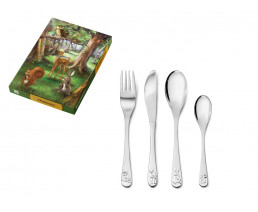 Children's cutlery Forest animals, 4 pieces, stainless steel