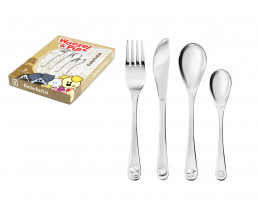Children's cutlery Woezel & Pip, 4 pieces, stainless steel