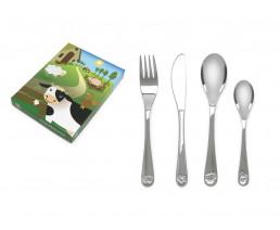 Children's cutlery Farm animals, 4 pieces, stainless steel 18/10
