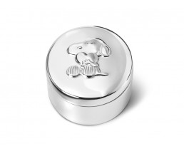 First tooth/haircurl box Snoopy, silver plated lacquered