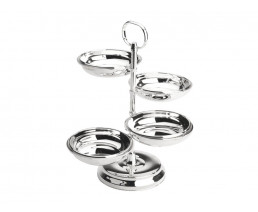 Snack dish, 4-tier, stainless steel