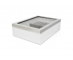 Jewellery box with window and silver colour rim