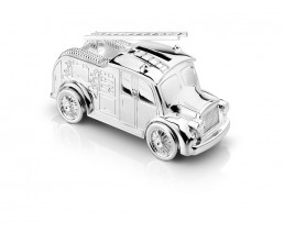 Money box Fire engine, silver plated lacquered