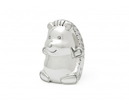Money box Hedgehog, silver plated lacquered