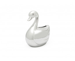 Money box Swan, silver plated lacquered