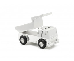 Money box Dumper truck, silver plated lacquered