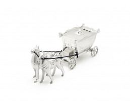 Money box Coach with horses, silver plated lacquered