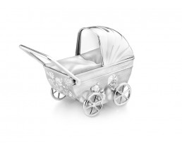 Money Box Buggy with engraving shield, silver plated lacquered